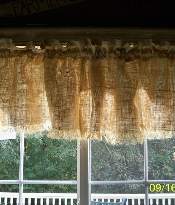 burlap window valance no sew but lots of paint, painting, reupholster, window treatments, Started out w just a plain burlap window valance