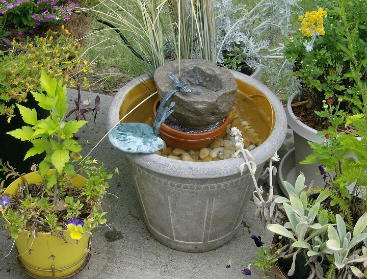patio garden with water feature, gardening, ponds water features