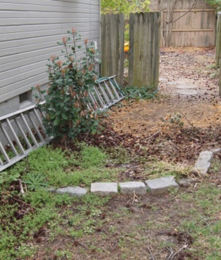recycled granite block patio, outdoor living, patio, This is my side yard before These are the granite blocks I used to create my new patio Ugly before right