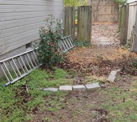 Recycled Granite Block Patio, Outdoor Living, Patio, This Is My Side Yard  Before