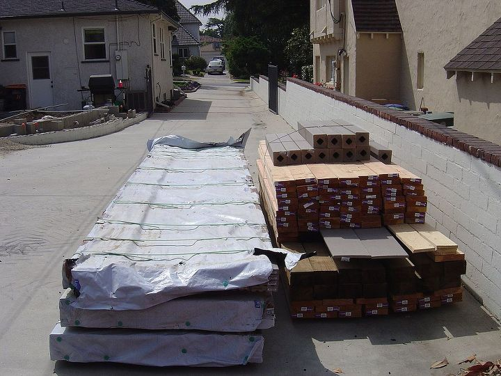 All the lumber delivered from Lowe's for the project.