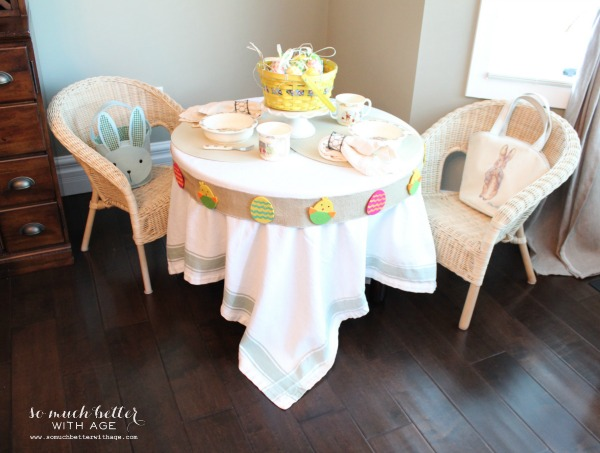 kids easter table, crafts, easter decorations, painted furniture, seasonal holiday decor