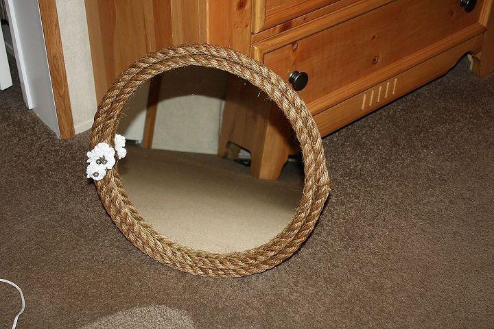 diy rope mirror, crafts, repurposing upcycling