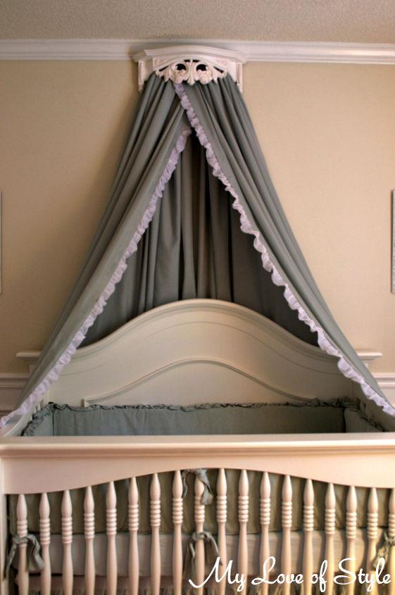 diy bed crown crib canopy tutorial, bedroom ideas, diy, home decor, how