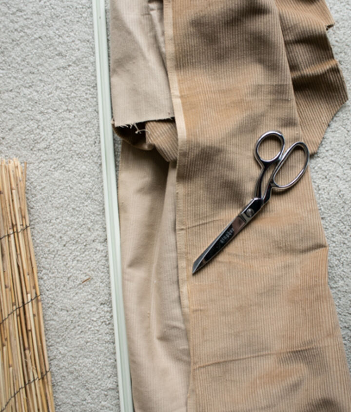 diy bamboo blinds out of outdoor fencing, diy, home decor, repurposing upcycling, window treatments, windows, Gather your supplies You will need the fencing 10 an old curtain rod scrap fabric scissors and a glue gun