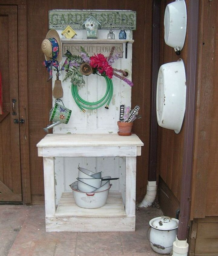 My lovely potting table my husband built. All ideas came from Pinterest!!!