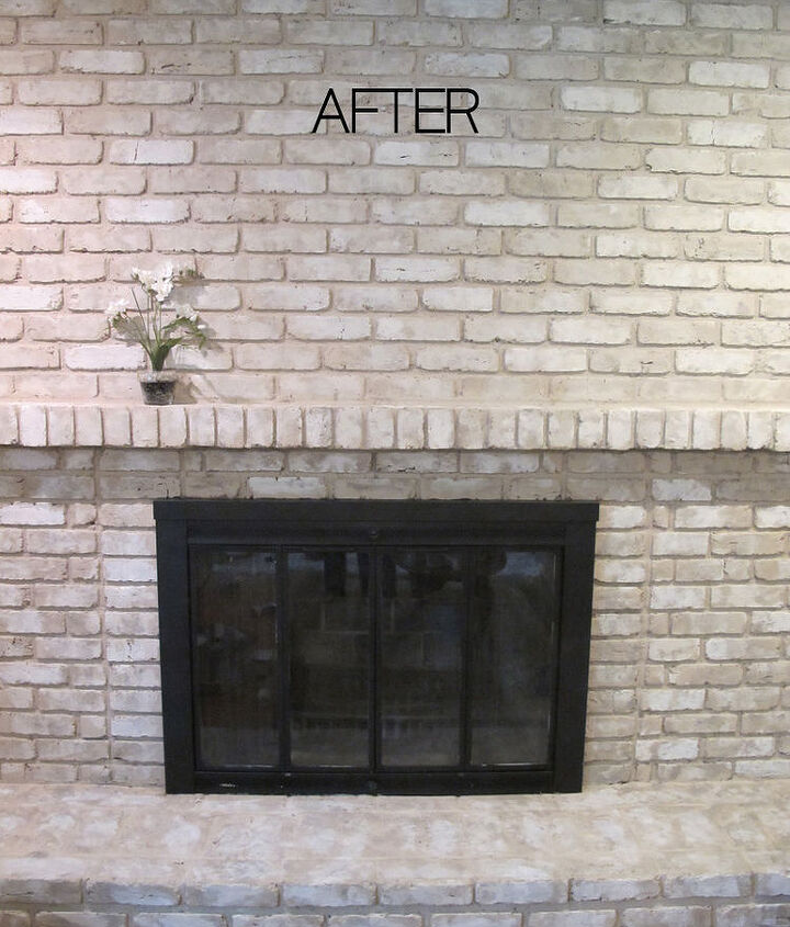Using a faux-finish, it still looks like brick, but is fresh, light, and opens up the family room to let in more light.