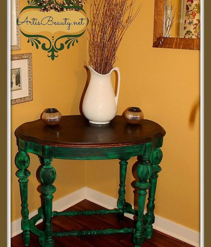 emerald isle parlor table makeover, home decor, painted furniture