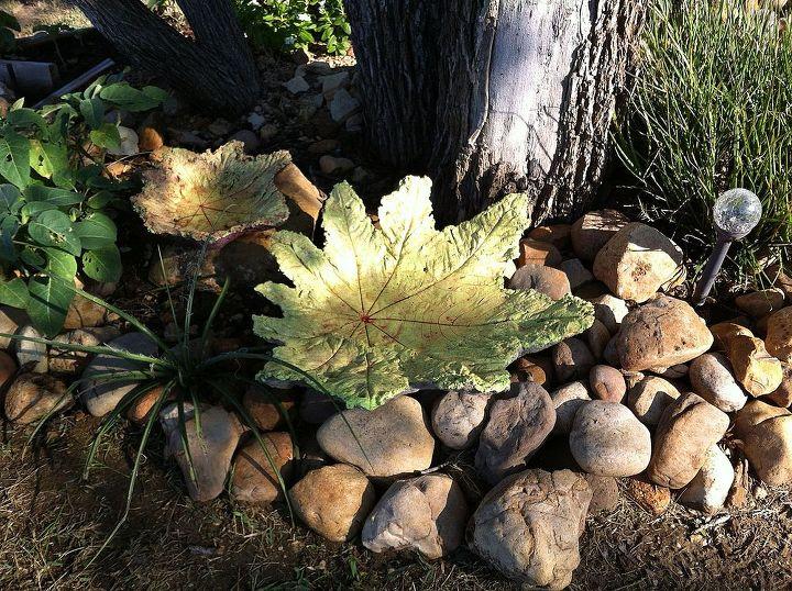 Castor Bean leaf birdbaths.