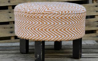 rag rug to ottoman, painted furniture, reupholster