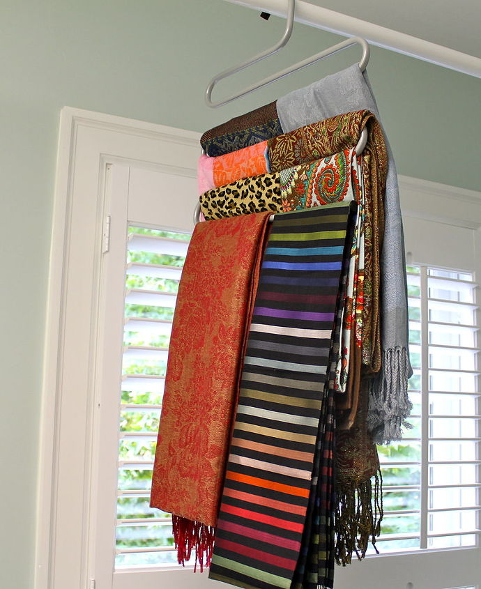 how to organize your scarves, organizing, My scarves look like this every day now and it only took a few minutes to organize them