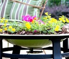 repurposing an old fire bowl, container gardening, flowers, gardening, repurposing upcycling