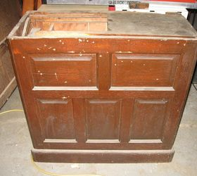 restoration of antique roll top desk painted furniture before pedestal different view