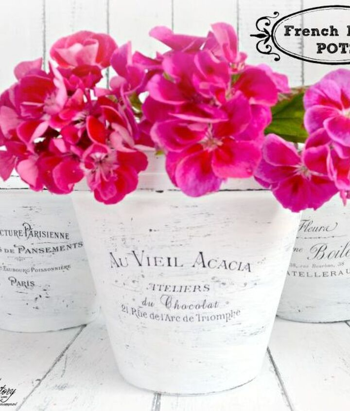 diy french made pots with waterslide decals, crafts, home decor