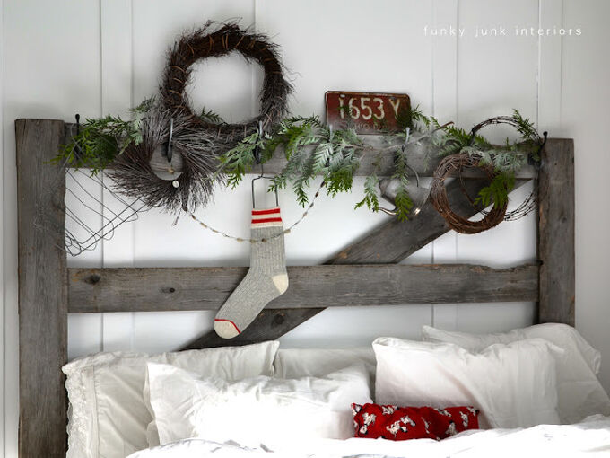 decking the halls on a horse gate headboard, bedroom ideas, christmas decorations, seasonal holiday decor, The headboard indeed tells a story this season it s wintery cold outside so make sure you have plenty of blankets which got changed out to white for the season