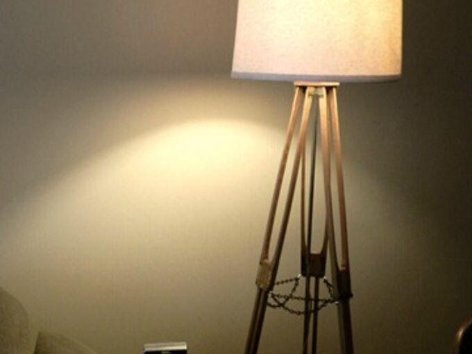 vintage camera tripod floor lamp, crafts, lighting, repurposing upcycling