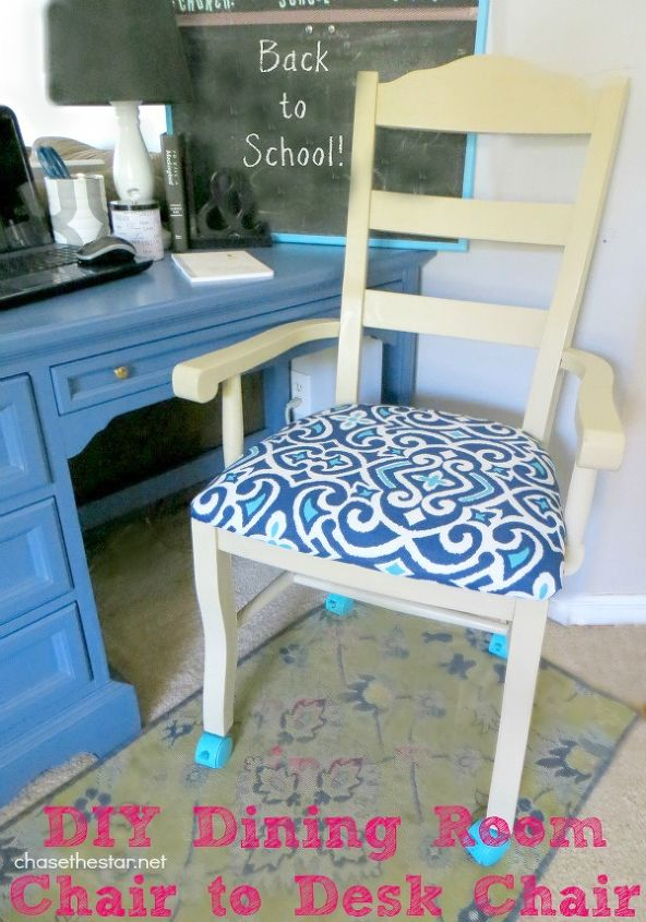 Turn An Ordinary Dining Chair Into A Desk With Casters Painted Furniture Added