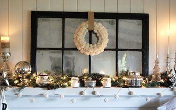 White, Silver & Burlap Christmas Mantel