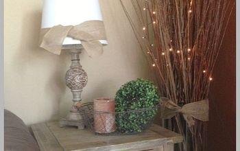 adding burlap ribbon to lamp shades, home decor