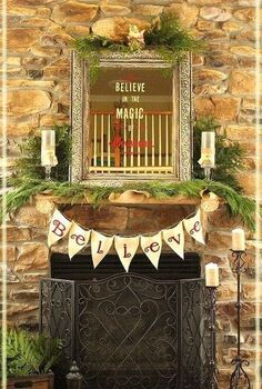 rustic holiday banner, seasonal holiday decor, A Rustic Holiday Banner made with canvas paint stencils