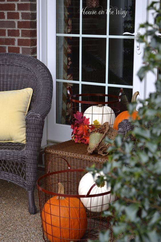 Yellow pillows on the chairs also add a touch of my favorite Fall colors to the porch.