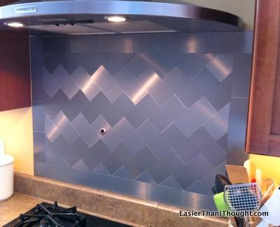 stainless tile backsplash, kitchen backsplash, kitchen design, tiling