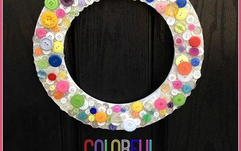 colorful spring chipboard button wreath, crafts, seasonal holiday decor, wreaths
