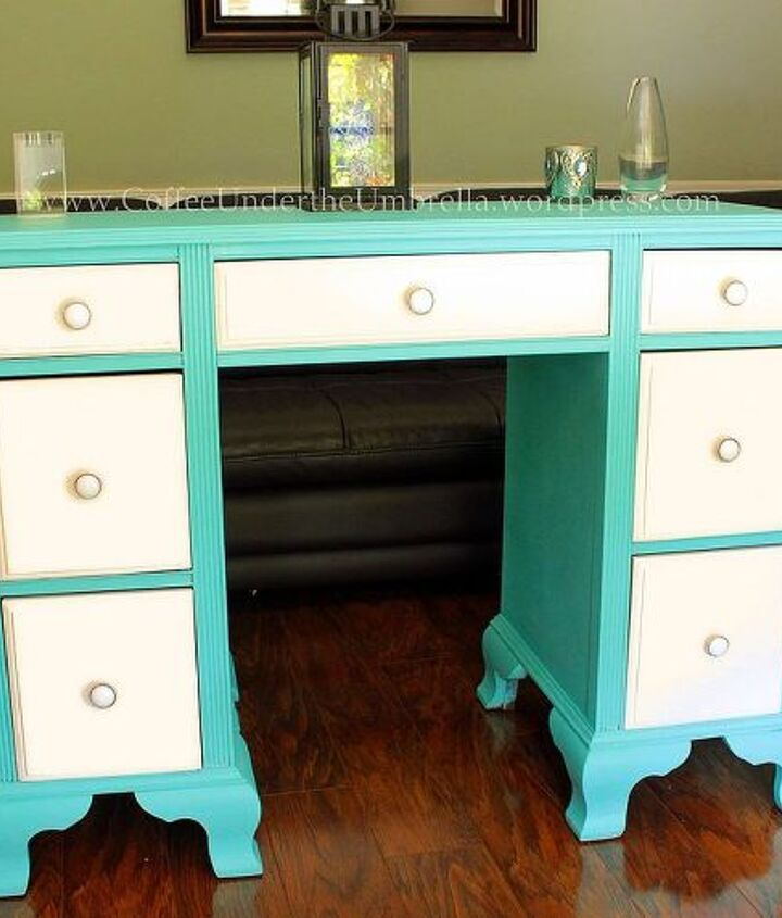 old desk with a broken leg into fabulous, painted furniture