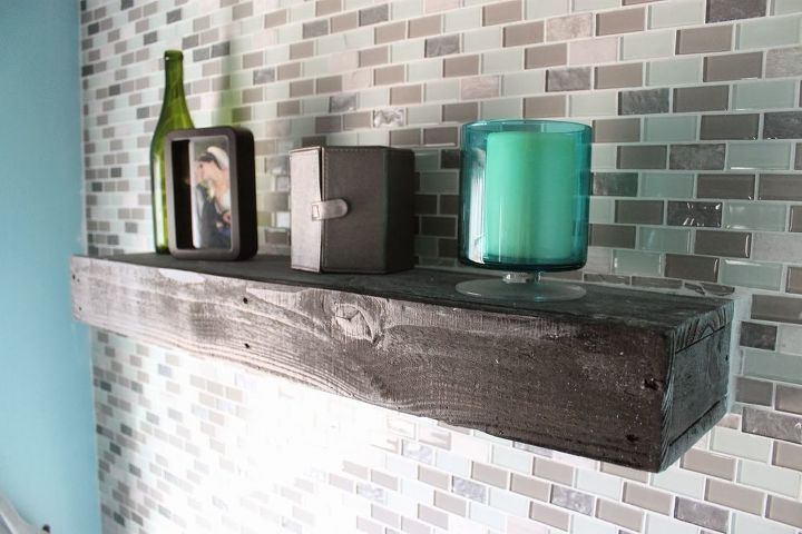 diy glass tile accent wall in master bathroom, bathroom ideas, home decor, tiling, A view of the pallet wood shelf among the tile