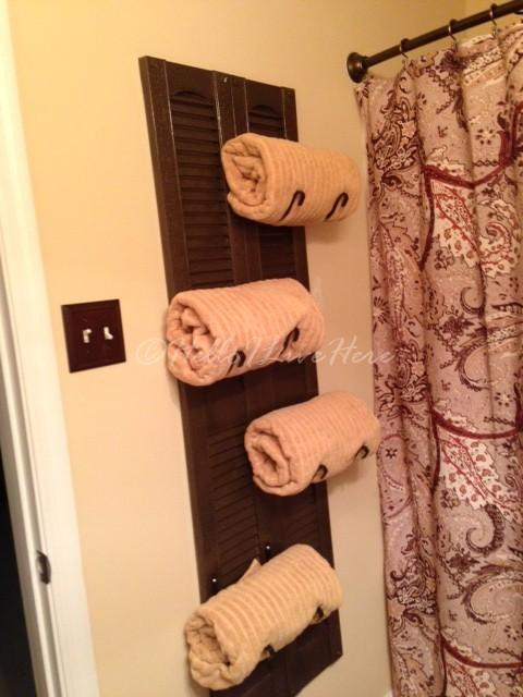 Diy Shutter Towel Rack Hometalk