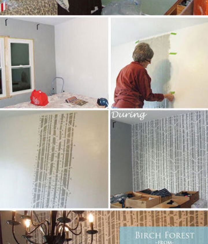 How-To stencil process creating Birch Forest Bedroom