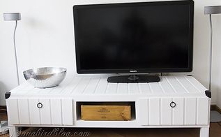 ikea hack tv stand makeover, home decor, painted furniture, repurposing upcycling, A new wine box made to look vintage is used to house the TV guide and remote controls