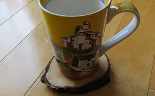 tree stump coasters diy, crafts