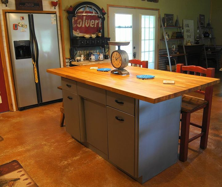 Rusty Old Metal Cabinet Turned Butcher Block Island Hometalk - Metal butcher table