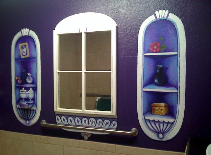 I painted details and replaced glass in an old window