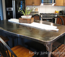a bullet proof funky metal kitchen island top, countertops, home decor, This double sided metal kitchen island top serves double duty It s a counter and kitchen table all in one The curvy corners help to visually diminish the size as well as add a personal touch