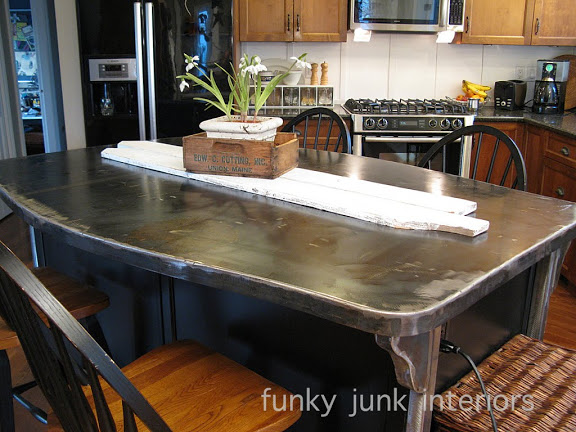 A bullet proof FUNKY METAL kitchen island top | Hometalk