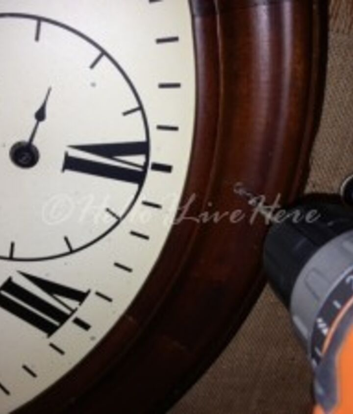 I drilled four 3/16″ holes at the 12 -3-6-9 marks on the wood frame of the clock.