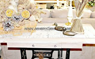 hydrangea fall floral centerpiece and how to clean silks, cleaning tips, painted furniture, repurposing upcycling, seasonal holiday decor, Old Antique sewing machine repurposed with an antique coffee table turned into sofa table for more on how this was done you can go herehttp www onemoretimeevents com 2012 04 re purposed antique singer sewing html