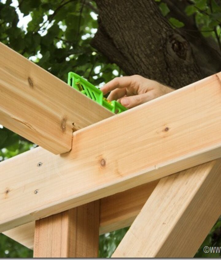 diy weekend pergola project, diy, outdoor living, woodworking projects, Add cross support beams and be sure to level