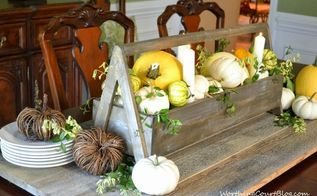 make a fast and easy rustic and elegant fall centerpiece, repurposing upcycling, seasonal holiday d cor, Wooden toolbox filled with white and yellow pumpkins candles and greenery