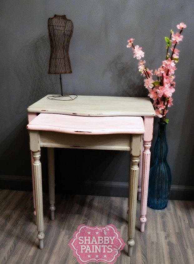 warped nesting tables get new life with shabby paints, painted furniture, After using Paper Doll Pink and Ice Grey Chalked Paint then glamed with Stunning Silver Shimmer