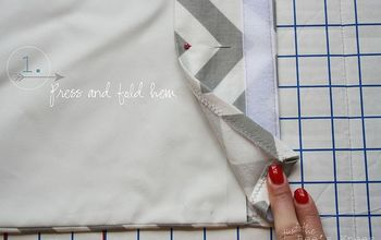 how to create a professional looking hem for your window treatments, crafts, reupholster, window treatments, Step 1 Press fold hem Pin in place