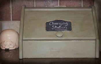 a breadbox into a charging station, repurposing upcycling, Breadbox repurposed into charging station