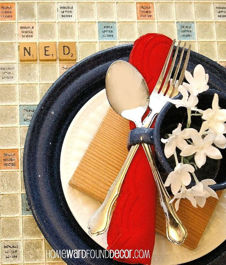 The Red, White, Blue & Tan coloring on Scrabble boards are perfect for summer table settings. And Scrabble letters can serve as place markers! http://homewardfounddecor.blogspot.com/2013/05/three-cheers-for-red-white-and-blue.html