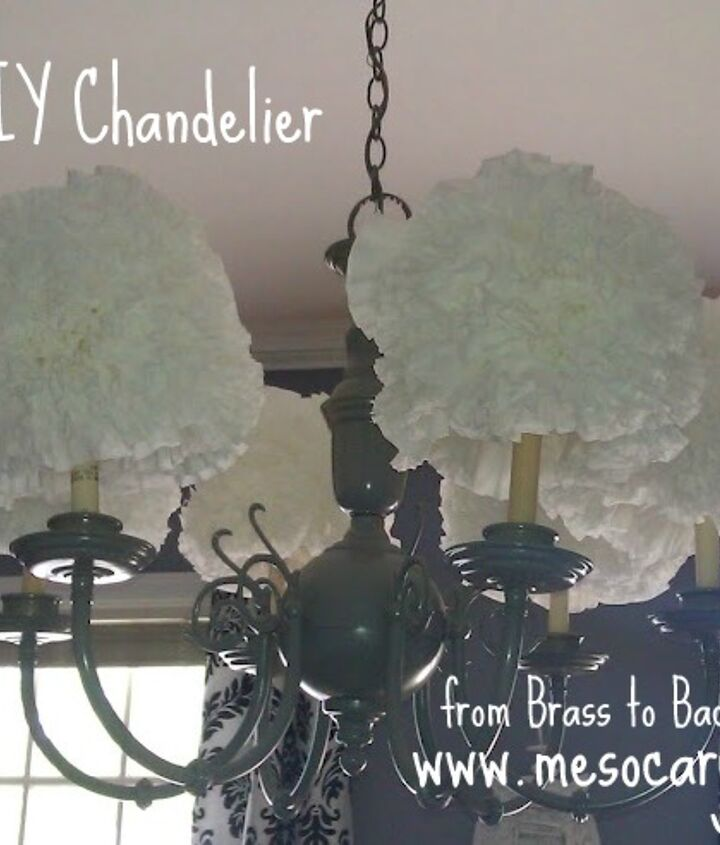 my brassy chandelier is blooming with coffee filters, crafts, home decor
