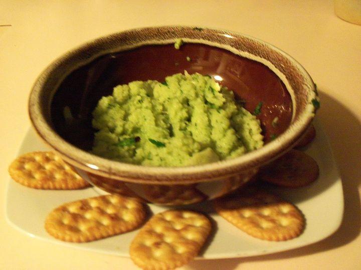 the nasturtium/pasta spread to be enjoyed on crackers!